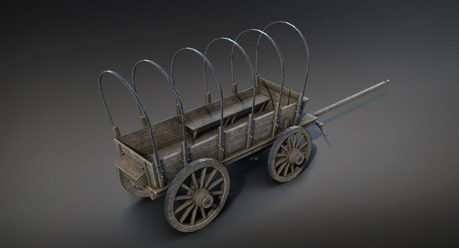 Medieval Wagon royalty-free 3d model - Preview no. 8