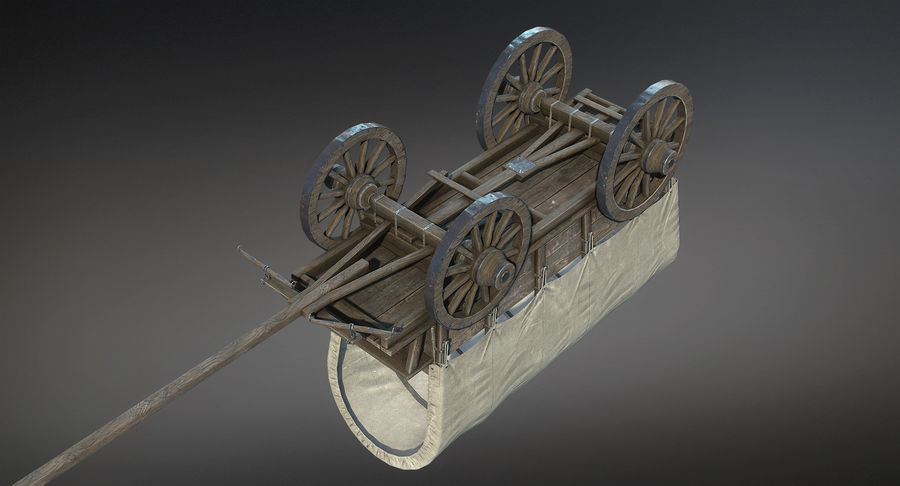 Medieval Wagon royalty-free 3d model - Preview no. 10