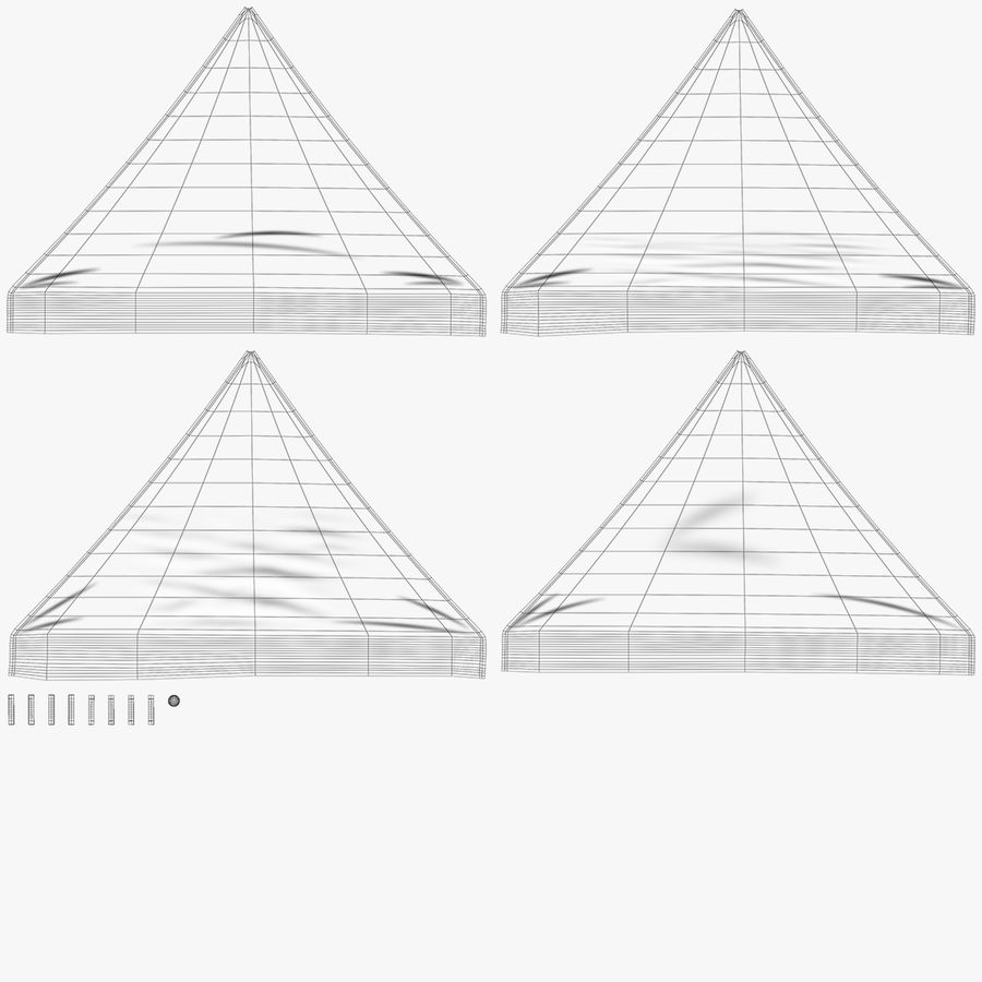 White Canopy Tent Gazebo royalty-free 3d model - Preview no. 14