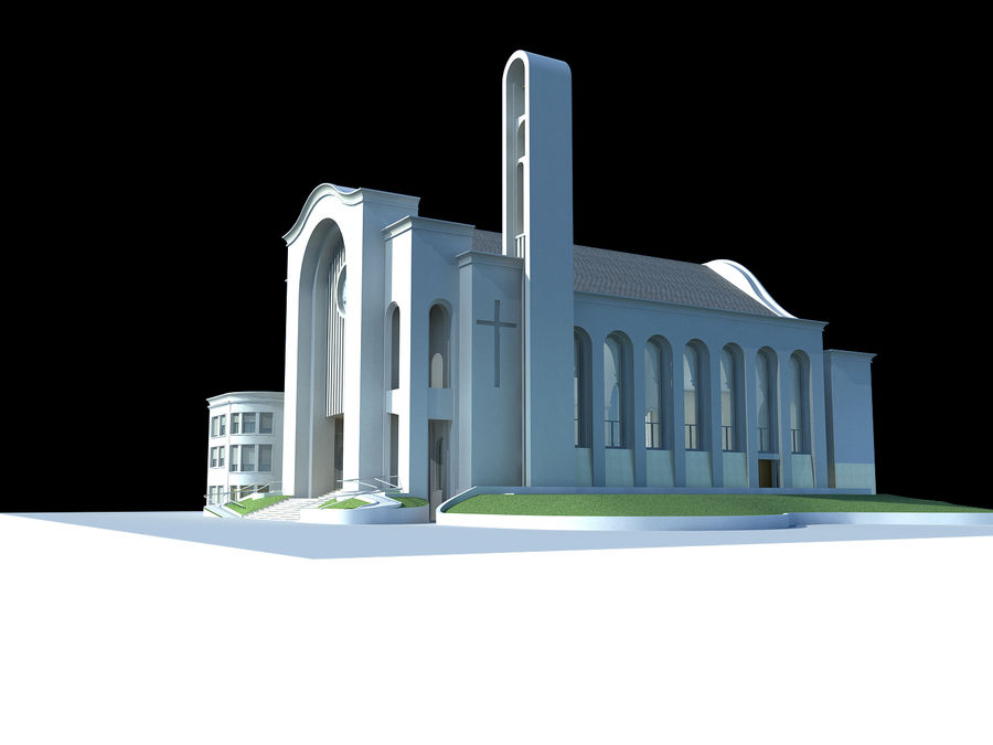 Cathedral royalty-free 3d model - Preview no. 2