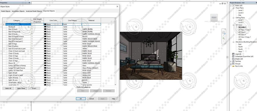 Hotel Room Scene for Revit royalty-free 3d model - Preview no. 4