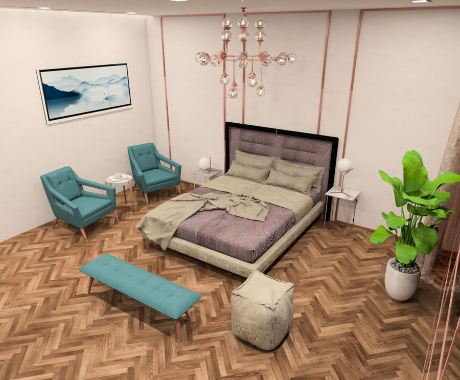 Hotel Room Scene for Revit royalty-free 3d model - Preview no. 3