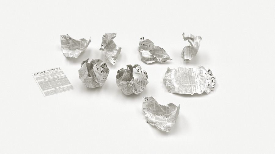 Skrynkligt papper royalty-free 3d model - Preview no. 1