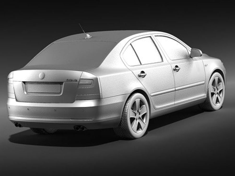 Skoda Octavia 2009 Limousine royalty-free 3d model - Preview no. 10