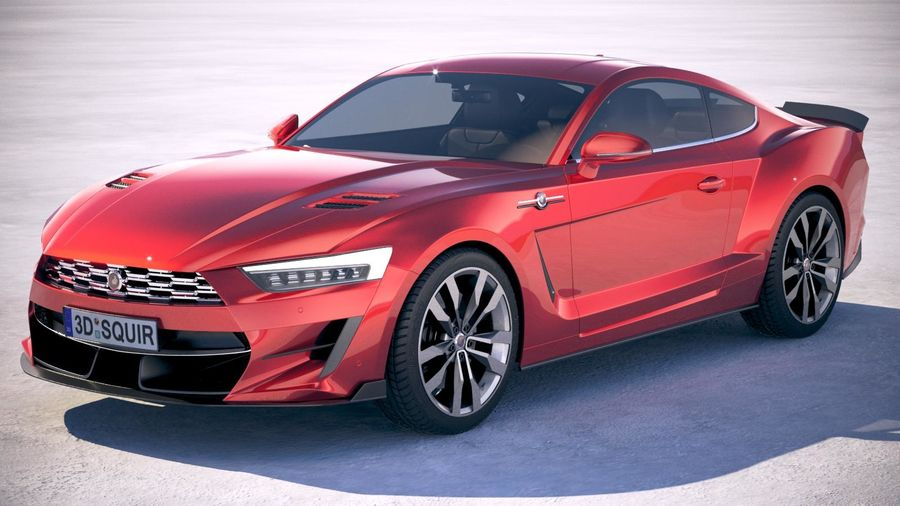 Generic Muscle Car v2 2018 royalty-free 3d model - Preview no. 1