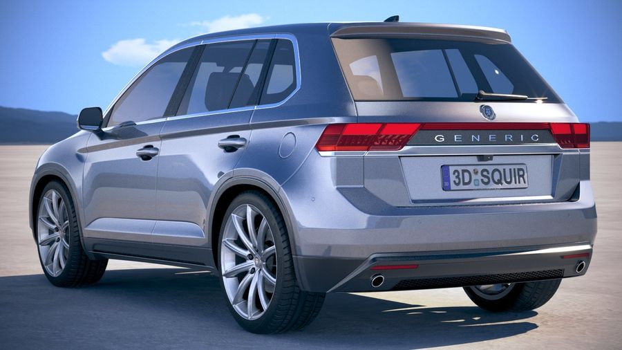 Generic SUV crossover 2018 royalty-free 3d model - Preview no. 14