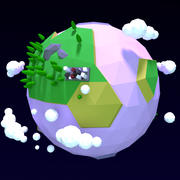 Desenhos animados Low Poly Earth Planet modelo 3D 3d model