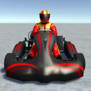 Low Poly Kart Z Graczem - 9 3d model
