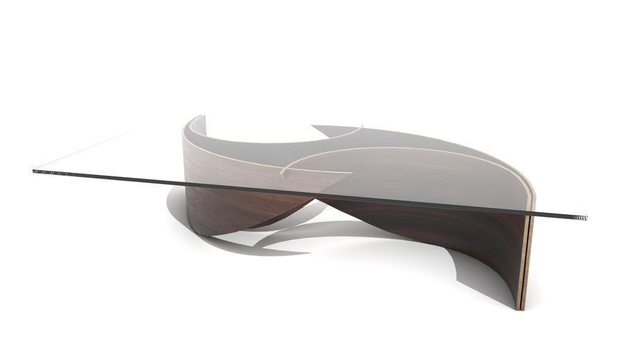 곡선 된 파도 나무와 유리 커피 테이블 royalty-free 3d model - Preview no. 6
