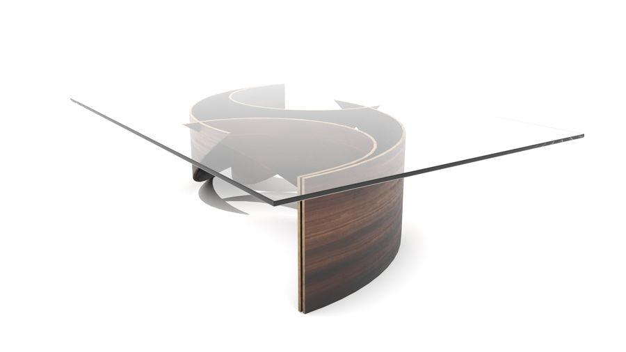 곡선 된 파도 나무와 유리 커피 테이블 royalty-free 3d model - Preview no. 2