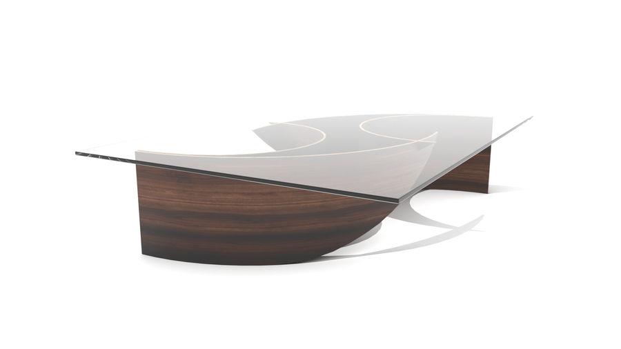 곡선 된 파도 나무와 유리 커피 테이블 royalty-free 3d model - Preview no. 3