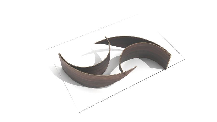 곡선 된 파도 나무와 유리 커피 테이블 royalty-free 3d model - Preview no. 5