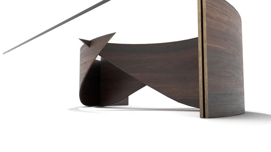 곡선 된 파도 나무와 유리 커피 테이블 royalty-free 3d model - Preview no. 7