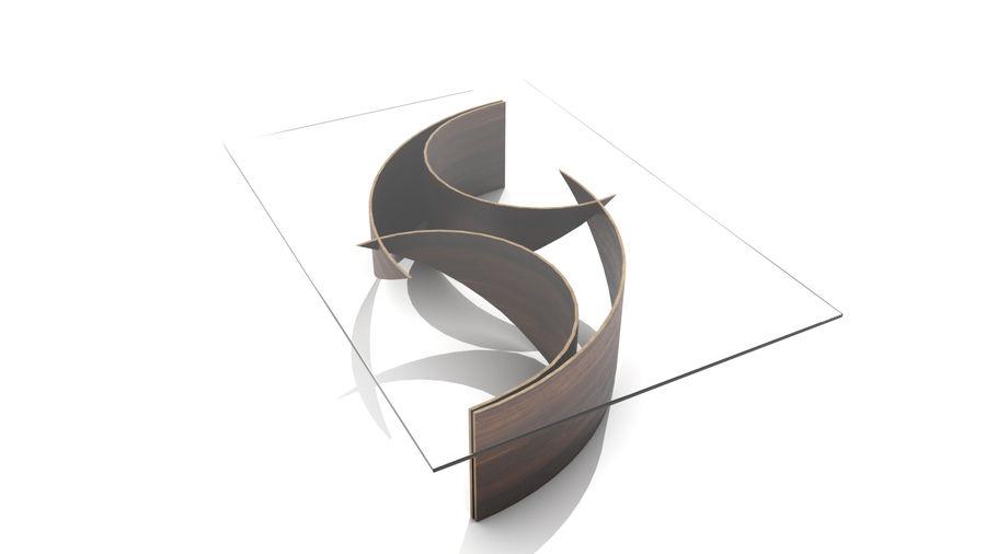 곡선 된 파도 나무와 유리 커피 테이블 royalty-free 3d model - Preview no. 1