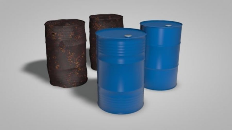Нефтяные бочки (2 типа + 2 материала) royalty-free 3d model - Preview no. 2