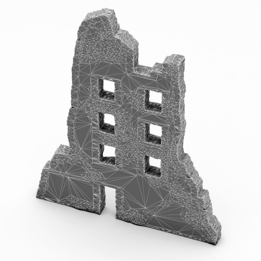 Edificio de ruinas royalty-free modelo 3d - Preview no. 7