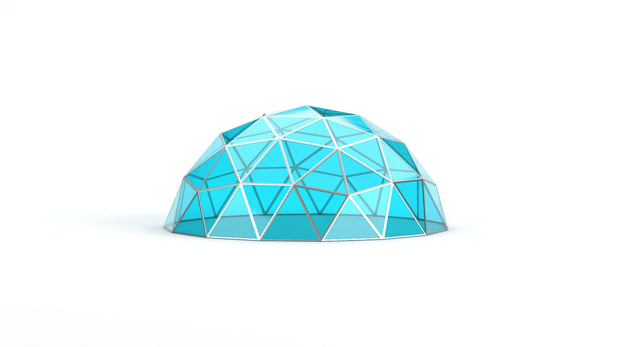 Geodesic small dome royalty-free 3d model - Preview no. 3