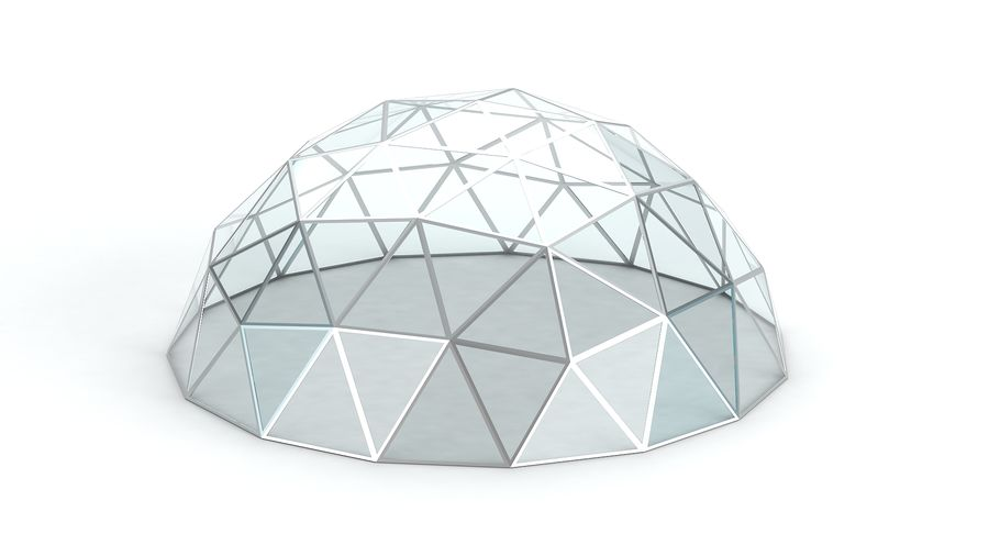 Geodesic small dome royalty-free 3d model - Preview no. 5