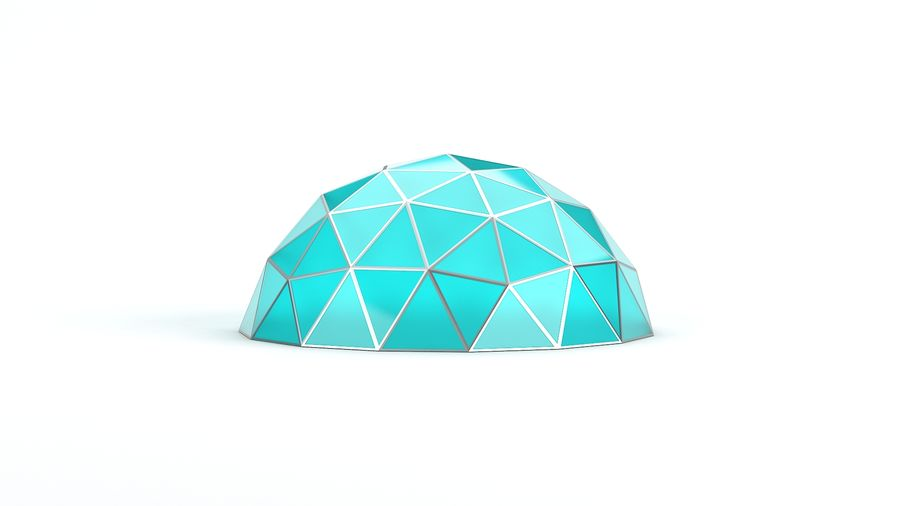Geodesic small dome royalty-free 3d model - Preview no. 2