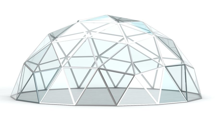 Geodesic small dome royalty-free 3d model - Preview no. 6