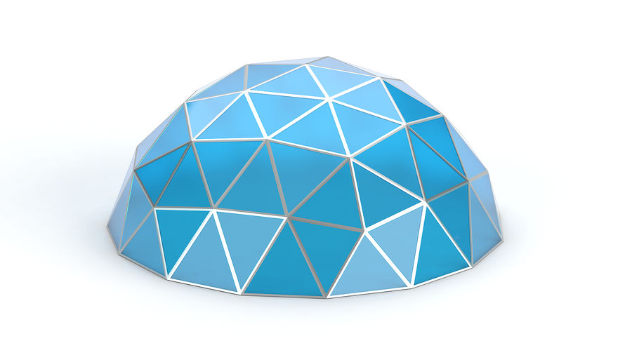 Geodesic small dome royalty-free 3d model - Preview no. 1
