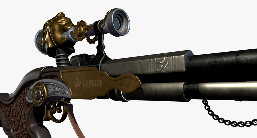 Karabin snajperski royalty-free 3d model - Preview no. 7