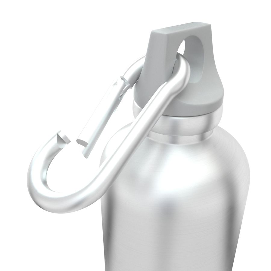Reusable aluminium water gray bottle royalty-free 3d model - Preview no. 7