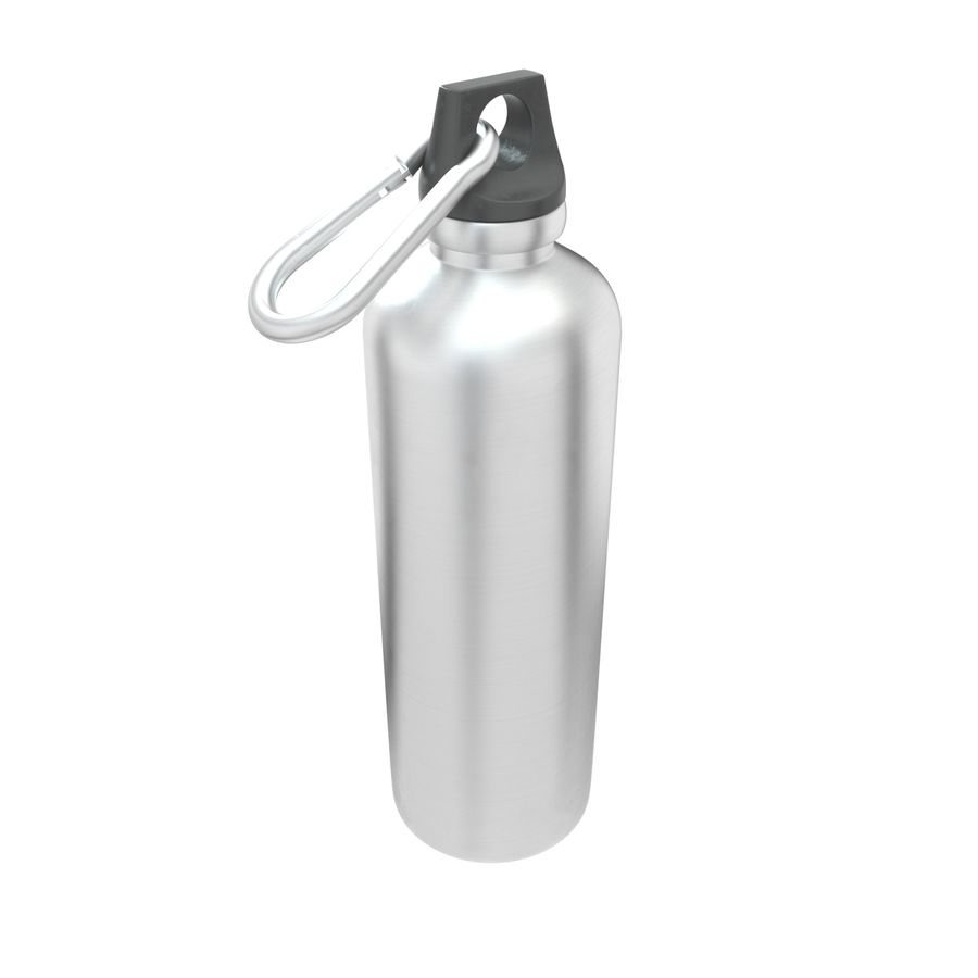 Reusable aluminium water black bottle royalty-free 3d model - Preview no. 3