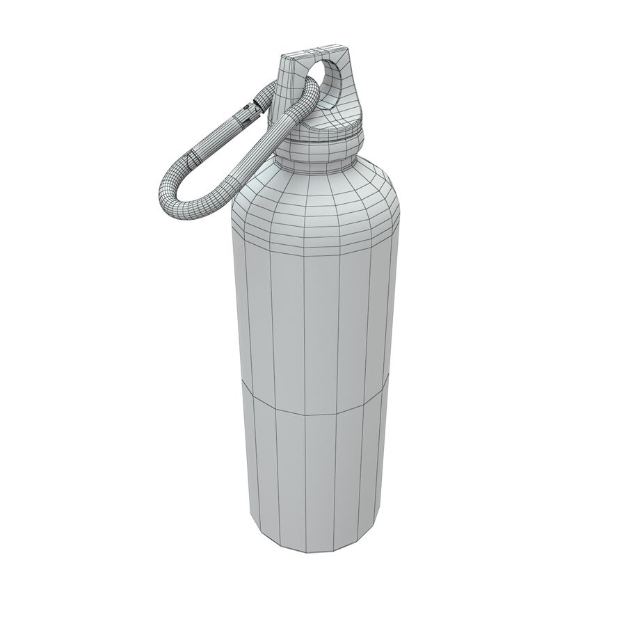 Reusable aluminium water black bottle royalty-free 3d model - Preview no. 4