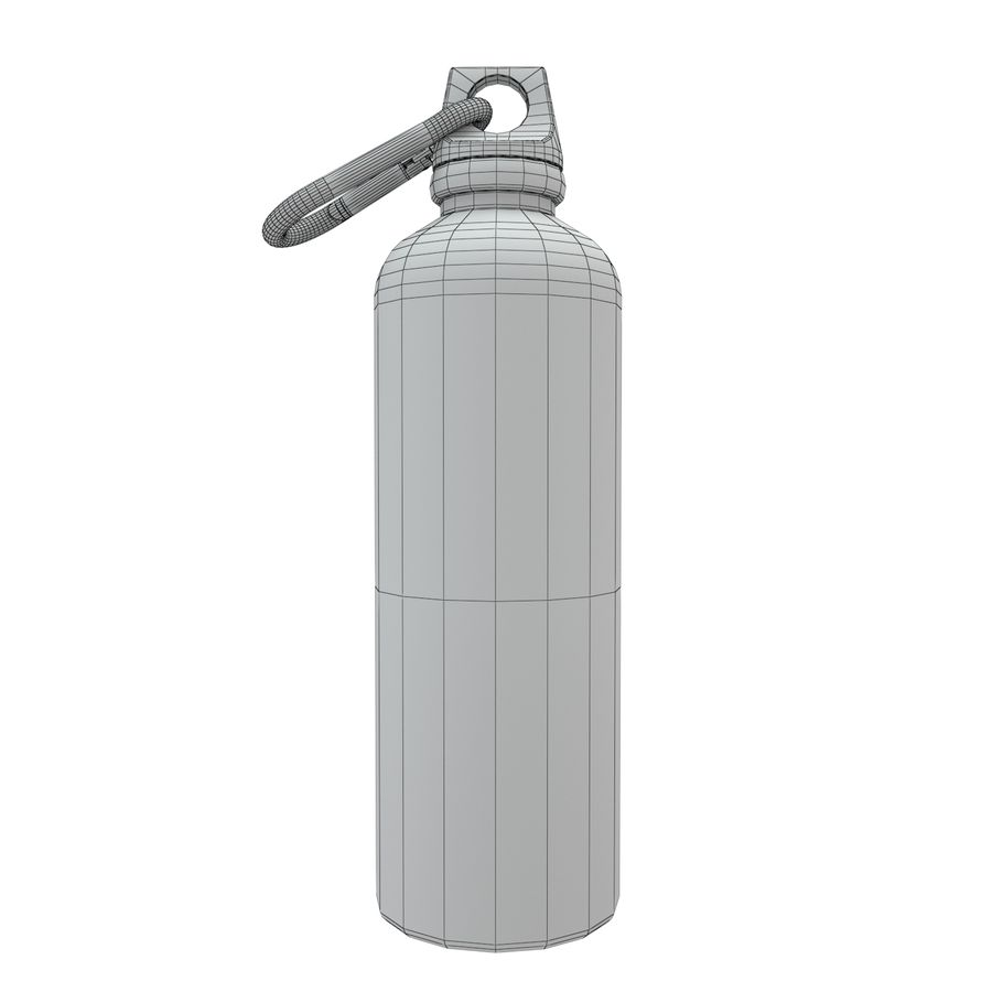 Reusable aluminium water black bottle royalty-free 3d model - Preview no. 2