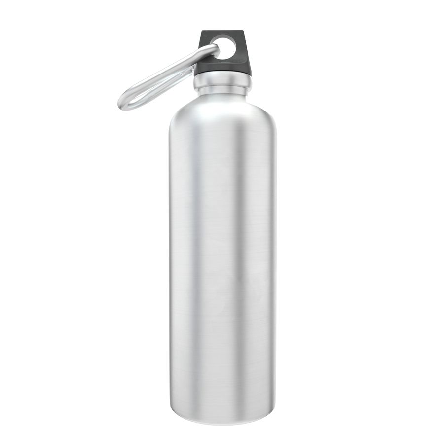 Reusable aluminium water black bottle royalty-free 3d model - Preview no. 1