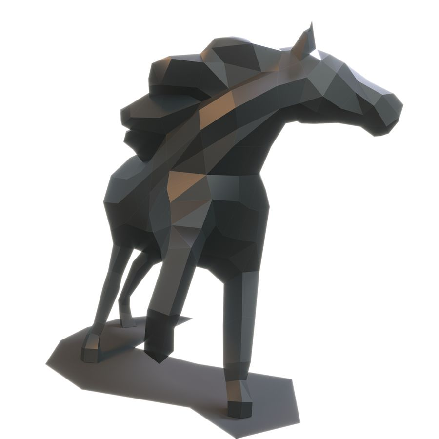 Cavallo Papercraft royalty-free 3d model - Preview no. 2