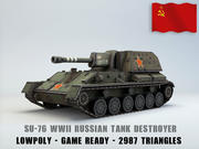 SU-76 Tank Destroyer low poly 3d model