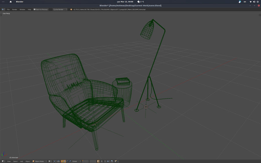 Armchair scene 1 royalty-free 3d model - Preview no. 8