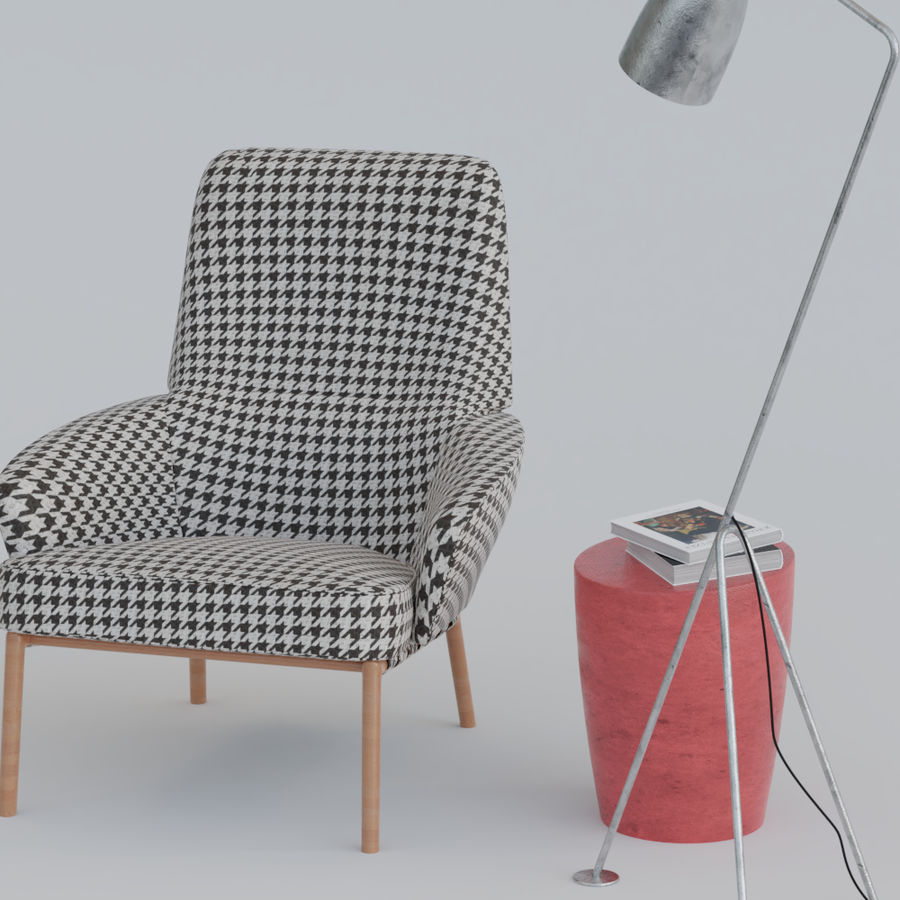 Armchair scene 1 royalty-free 3d model - Preview no. 4