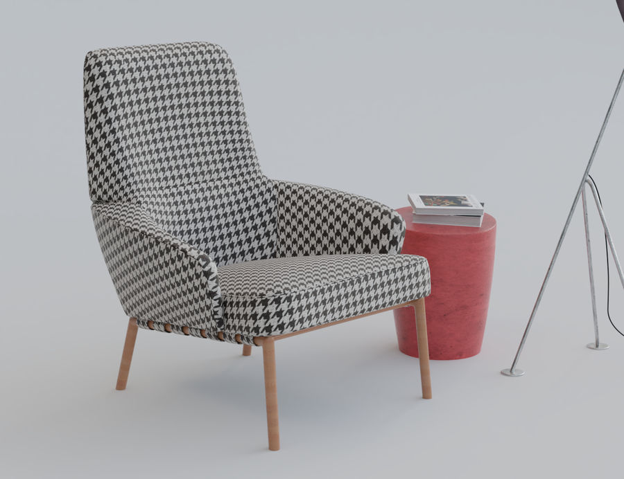 Armchair scene 1 royalty-free 3d model - Preview no. 3