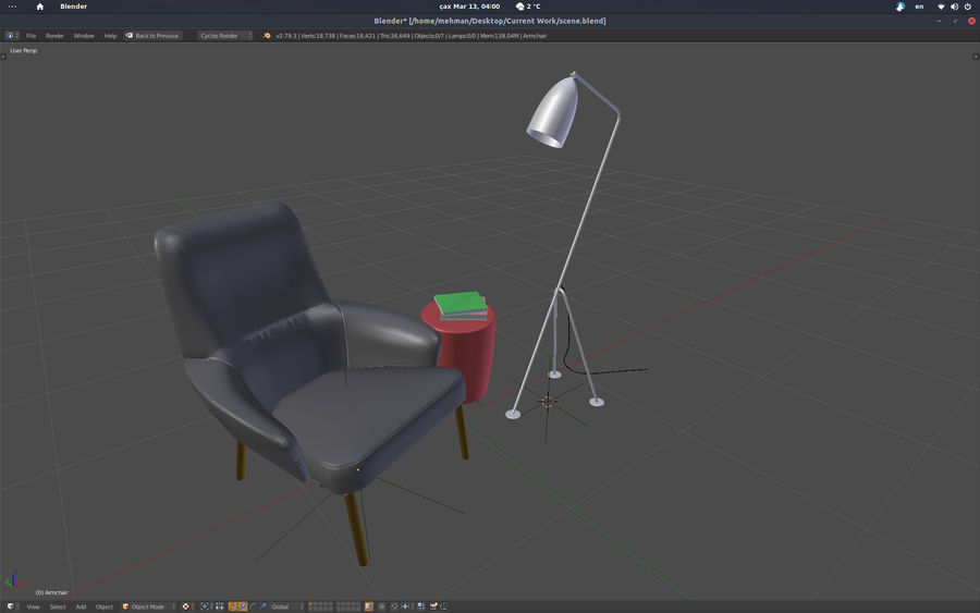 Armchair scene 1 royalty-free 3d model - Preview no. 7