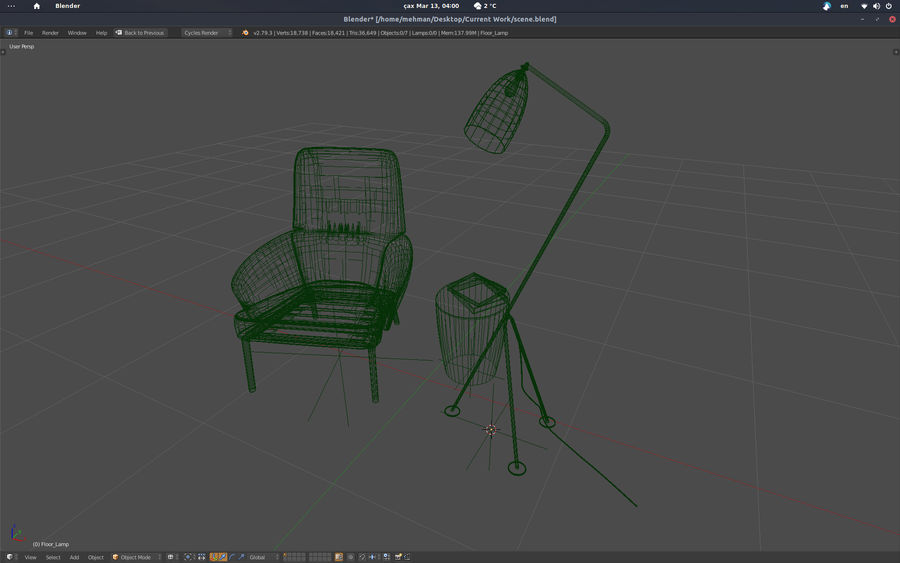 Armchair scene 1 royalty-free 3d model - Preview no. 6
