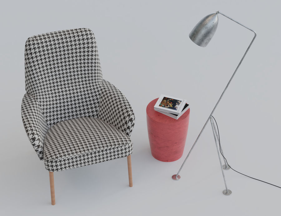 Armchair scene 1 royalty-free 3d model - Preview no. 2