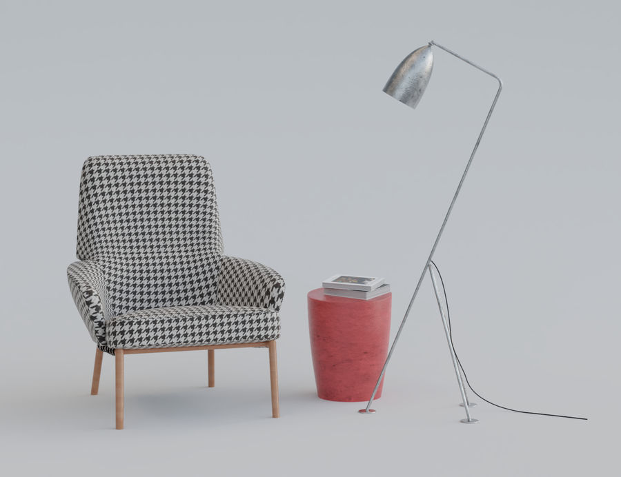 Armchair scene 1 royalty-free 3d model - Preview no. 1