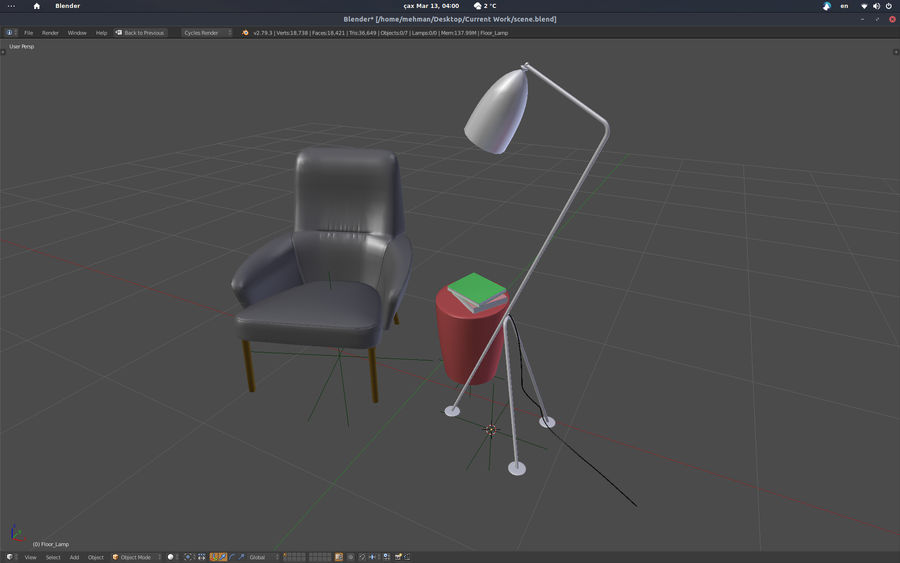 Armchair scene 1 royalty-free 3d model - Preview no. 5