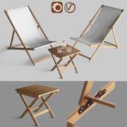 Tuinmeubelen chaise longue met een lage tafel 3d model