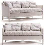 北欧米色的旧米色皮革和橡木饰面双人沙发 3d model