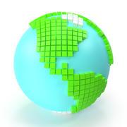 世界地球大キューブ 3d model