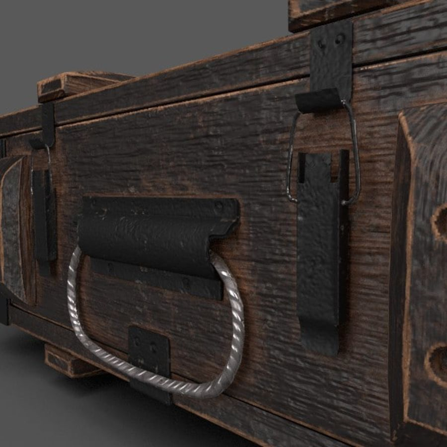 Reinforced Wooden Crate royalty-free 3d model - Preview no. 7