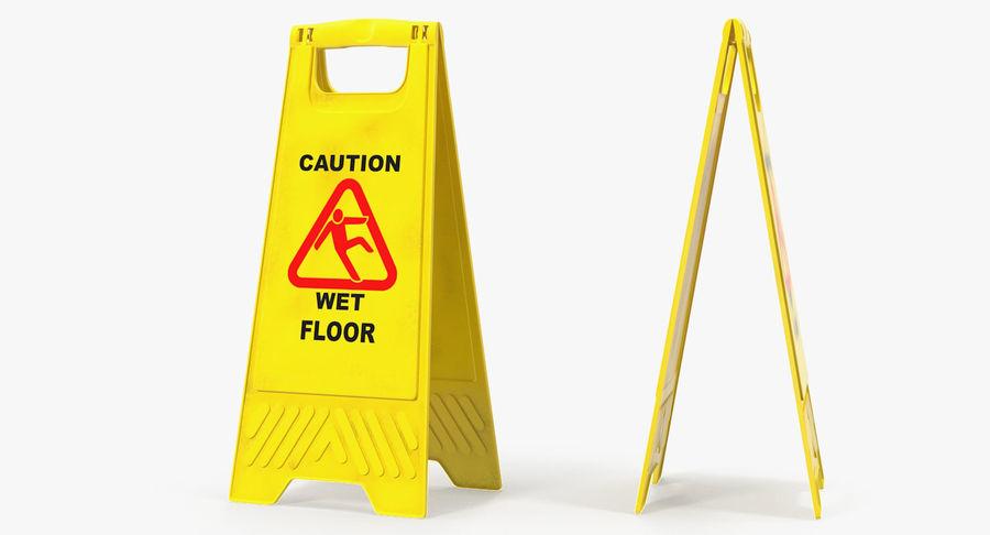 Sinal de piso molhado cuidado royalty-free 3d model - Preview no. 3