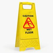Sinal de piso molhado cuidado 3d model