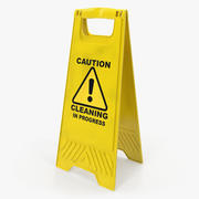 Warning Cleaning In Progress Sign 3d model