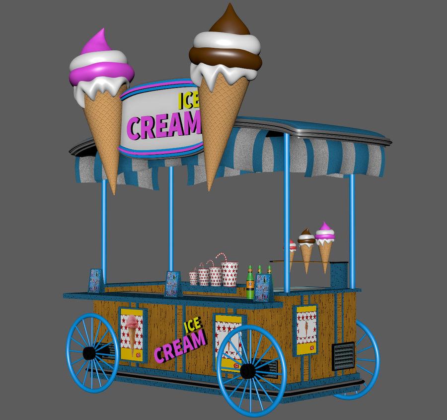 Ice Cream Wagon Cartoon royalty-free 3d model - Preview no. 8
