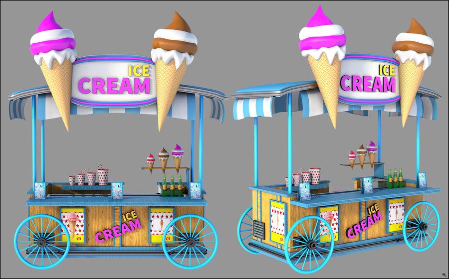 Ice Cream Wagon Cartoon royalty-free 3d model - Preview no. 5